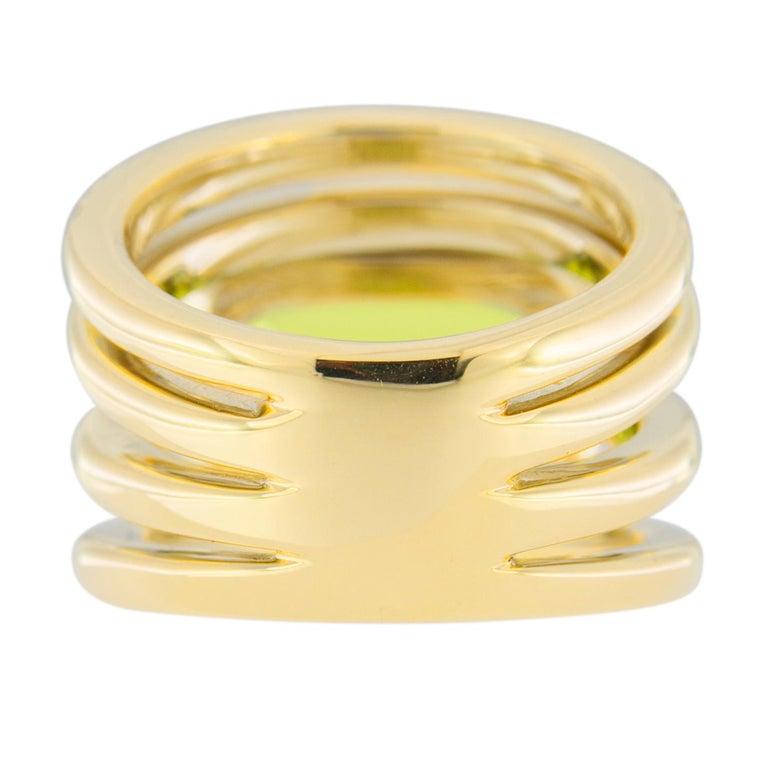 Jona Peridot White Diamond 18 Karat Yellow Gold Band Ring For Sale 7