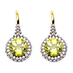 Alex Jona Peridot White Diamond 18 Karat Yellow Gold Stud Earrings
