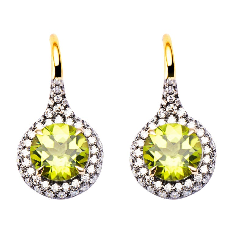 Alex Jona Peridot White Diamond 18 Karat Yellow Gold Stud Earrings For Sale