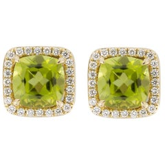 Jona Peridot White Diamond 18 Karat Yellow Gold Stud Earrings