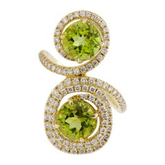 Jona Peridot White Diamonds 18 Karat Yellow Gold Ring