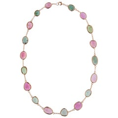 Jona Pink and Green Tourmaline 18 Karat Rose Gold Necklace