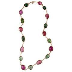 Jona Pink and Green Tourmaline 18 Karat Rose Gold Necklace