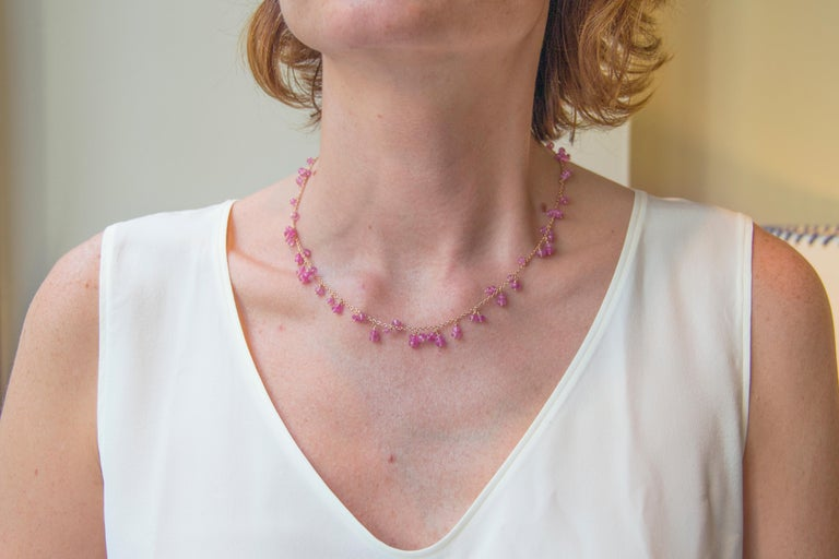 Jona design collection, hand crafted in Italy, 18 karat rose gold chain necklace with pink sapphire bead pendants. Dimensions: L 17.71 in / 45 cm X D 0,16 in / 4, 06 mm Weight: 12.2 g All Jona jewelry is new and has never been previously owned or