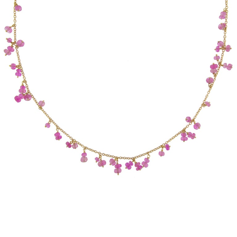 Jona Pink Sapphire 18 Karat Rose Gold Necklace In New Condition For Sale In Torino, IT