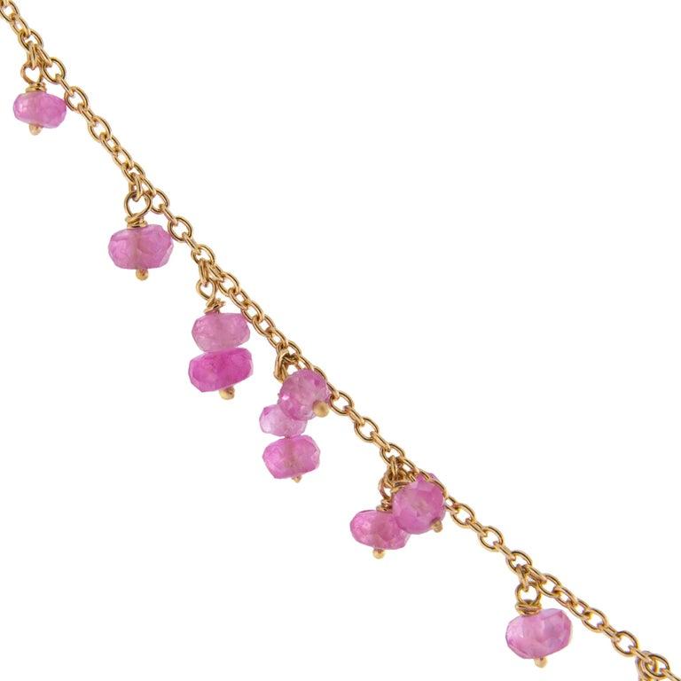 Jona Pink Sapphire 18 Karat Rose Gold Necklace For Sale 1