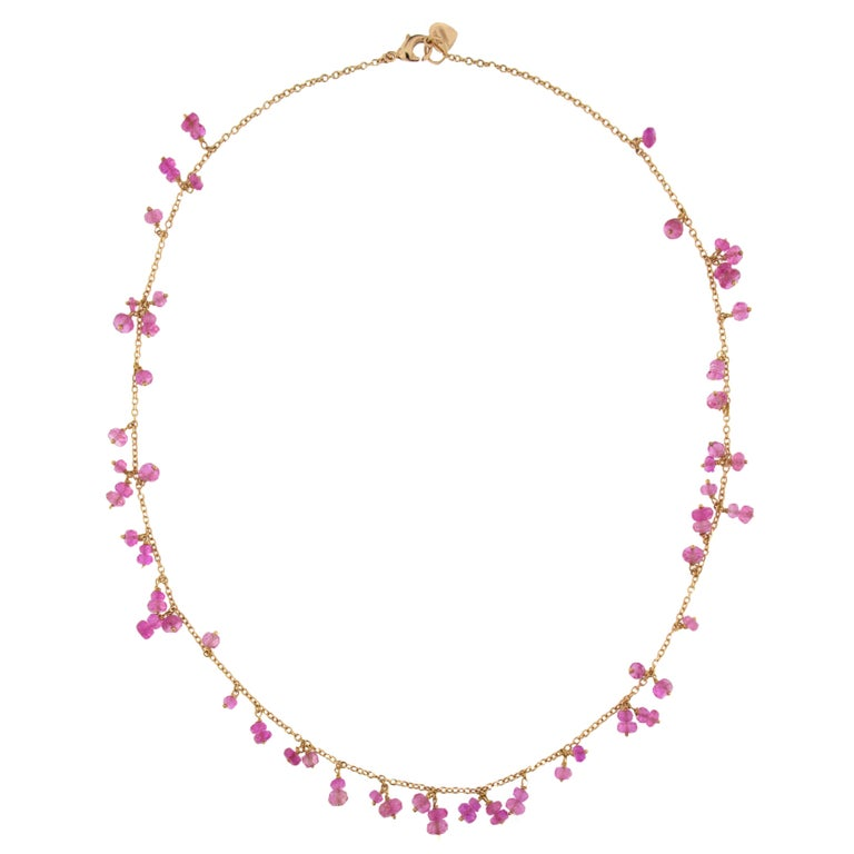 Jona Pink Sapphire 18 Karat Rose Gold Necklace For Sale