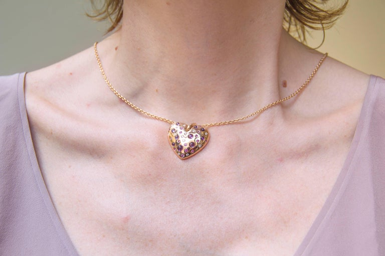 Jona Pink Sapphire Amethyst Diamond 18 karat Rose Gold Heart Pendant Necklace In New Condition For Sale In Torino, IT