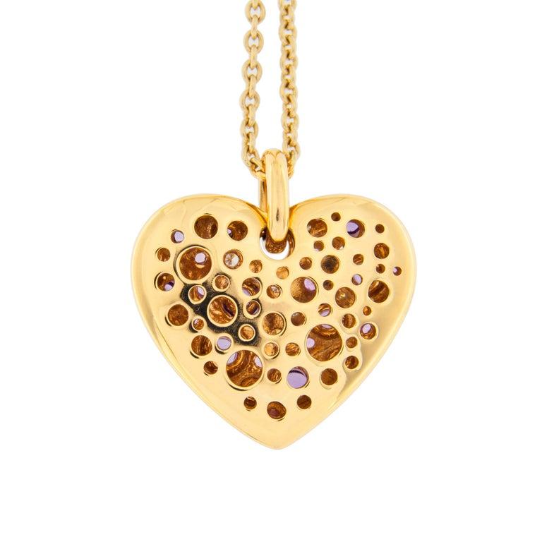 Jona Pink Sapphire Amethyst Diamond 18 karat Rose Gold Heart Pendant Necklace For Sale 1