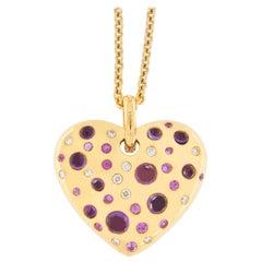 Jona Pink Sapphire Amethyst Diamond 18 karat Rose Gold Heart Pendant Necklace