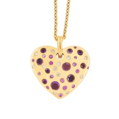 Jona Pink Sapphire Amethyst Diamond 18 karat Rose Gold Heart Pendant Necklace