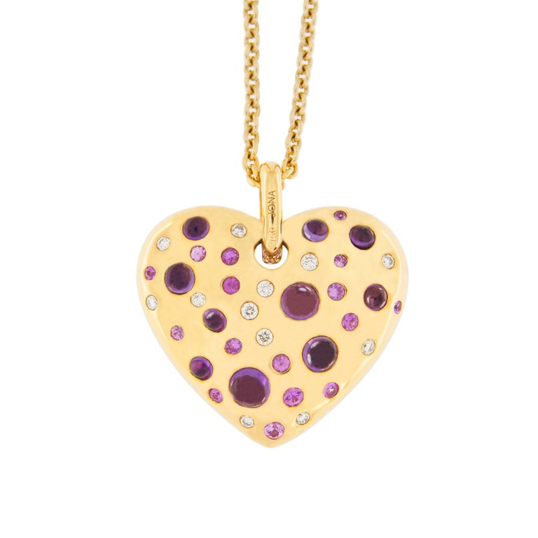 Jona Pink Sapphire Amethyst Diamond 18 karat Rose Gold Heart Pendant Necklace For Sale
