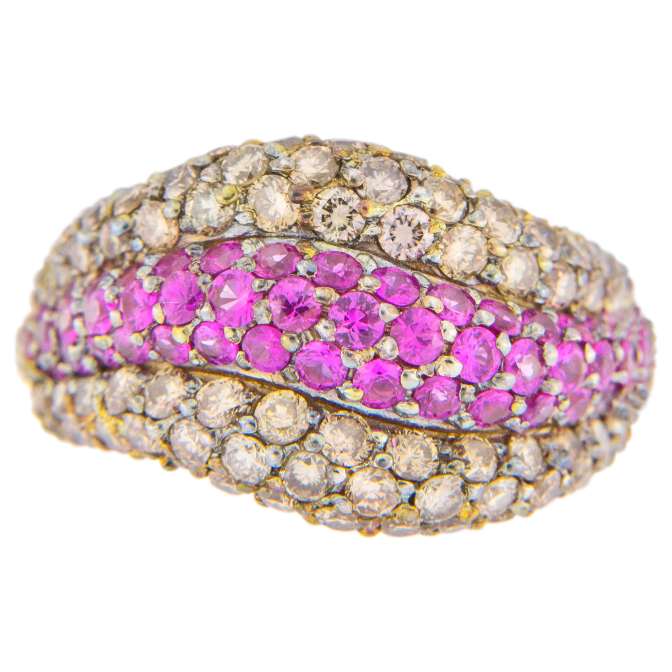 Alex Jona Pink Sapphire Brown Diamond 18 Karat White Gold Ring