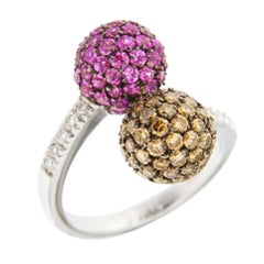 Jona Pink Sapphire White Diamond 18 Karat White Gold Twin Ring
