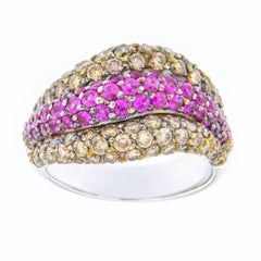 Jona Pink Sapphire Brown Diamond 18 Karat White Gold Ring