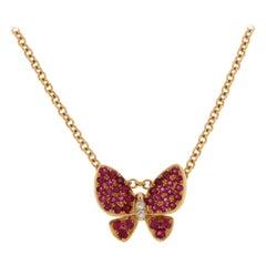 Jona Pink Sapphire White Diamond 18 Karat Rose Gold Butterfly Pendant Necklace