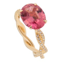 Jona Pink Tourmaline Diamond 18 Karat Rose Gold Cocktail Solitaire Ring