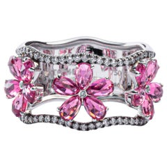 Jona Pink Tourmaline White Diamond 18 Karat White Gold Band Ring