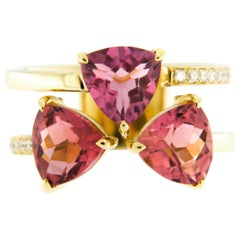 Jona Pink Tourmaline White Diamond 18 Karat Yellow Gold Ring