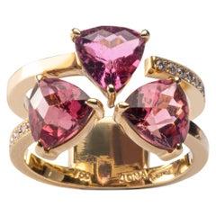 Jona Pink Tourmaline White Diamond 18 Karat Yellow Gold Ring
