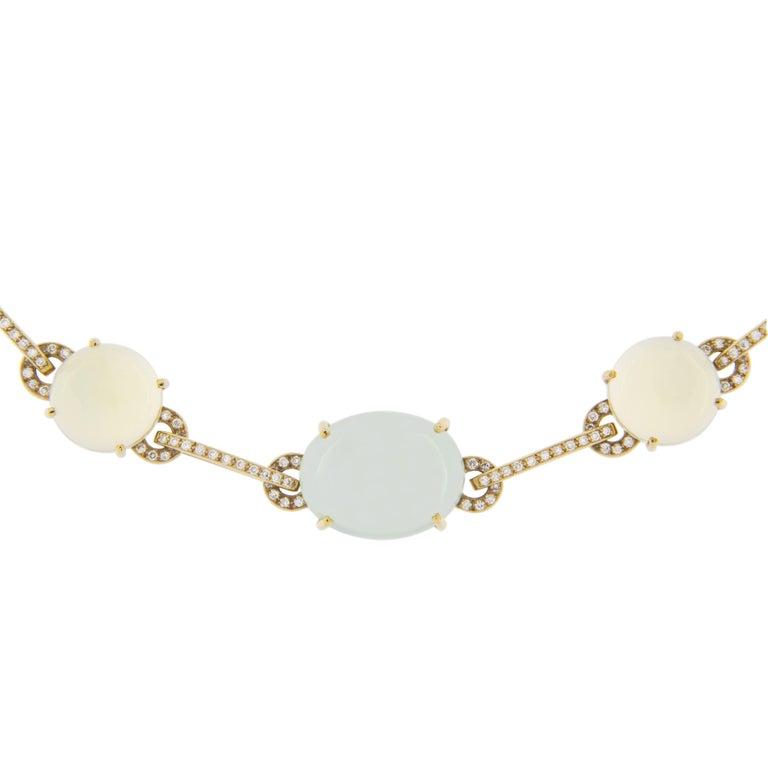 Women's Jona Prehnite Citrine White Diamond 18 Karat Yellow Gold Necklace For Sale