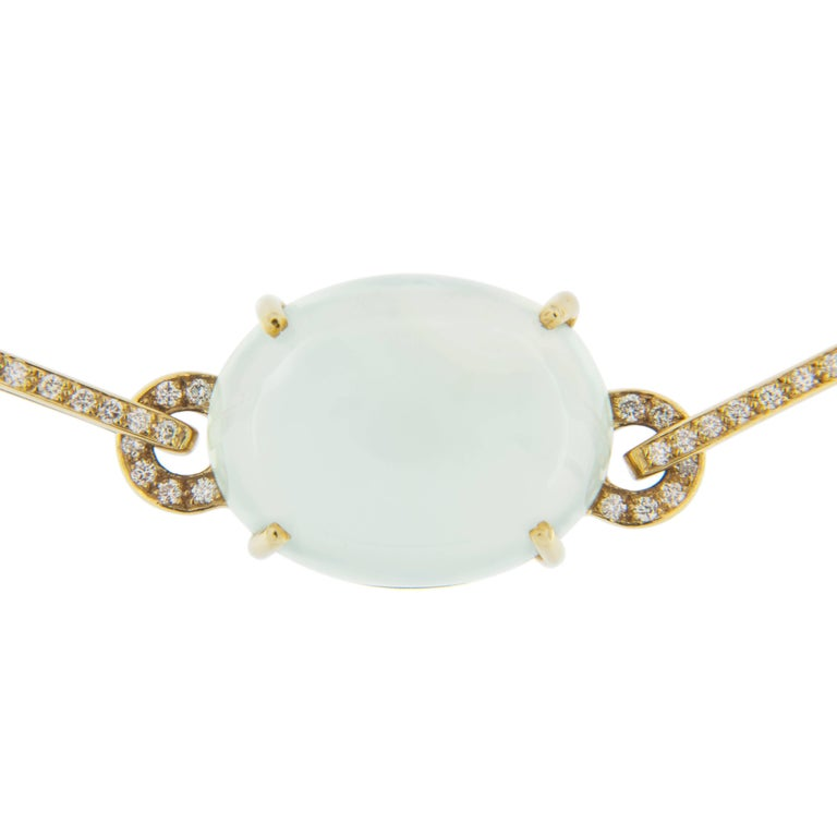 Jona Prehnite Citrine White Diamond 18 Karat Yellow Gold Necklace For Sale 1