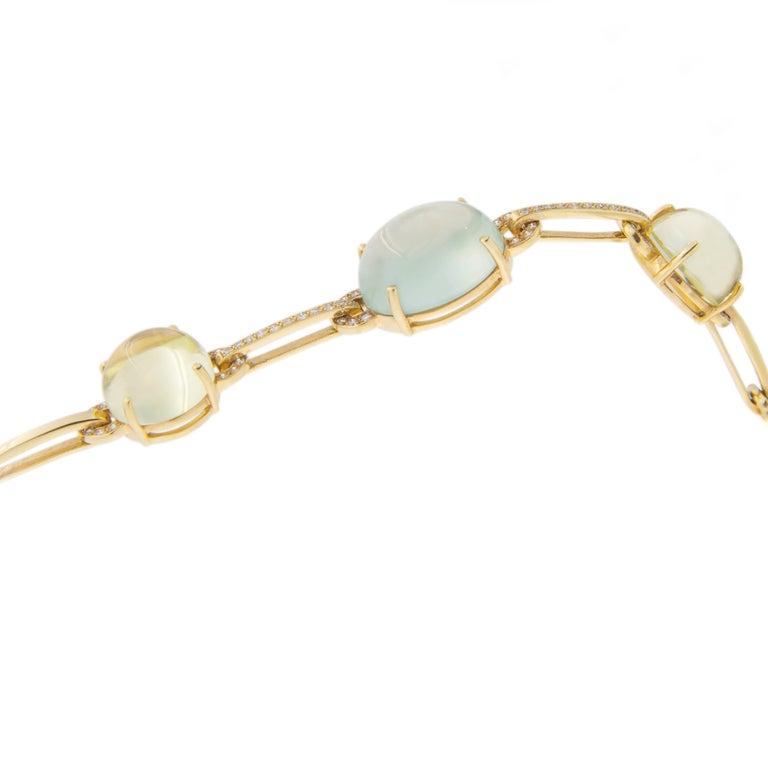 Jona Prehnite Citrine White Diamond 18 Karat Yellow Gold Necklace For Sale 3