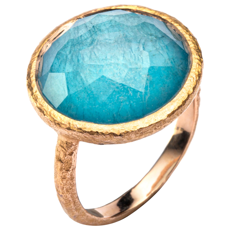 Alex Jona Quartz Amazonite 18 Karat Yellow Gold Ring