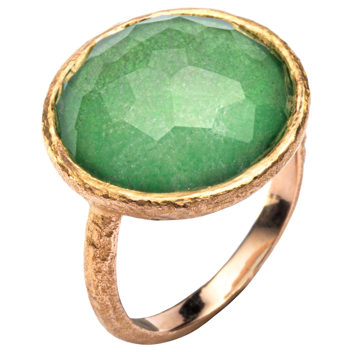 Alex Jona Quartz Emerald 18 Karat Yellow Gold Ring