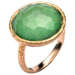 Jona Quartz Emerald 18 Karat Yellow Gold Ring
