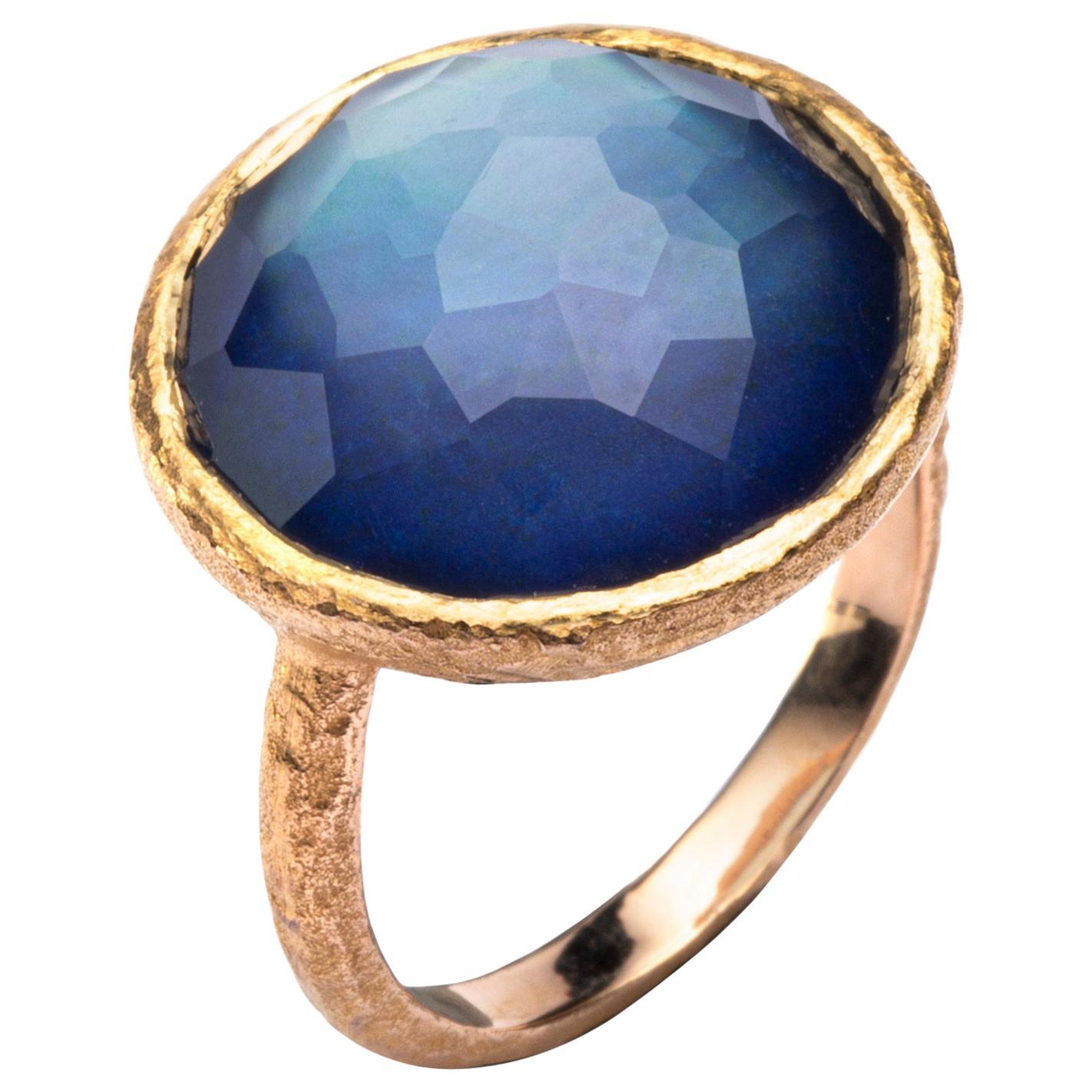 Alex Jona Quartz Lapis Lazuli 18 Karat Yellow Gold Ring