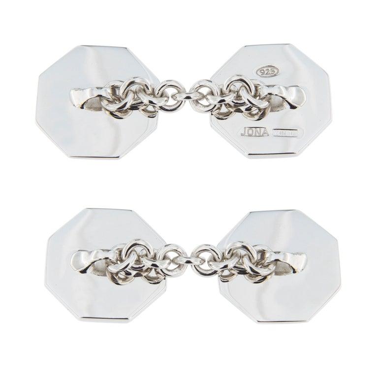 Women's or Men's Jona Red Enamel Sterling Silver Cufflinks For Sale