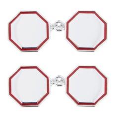 Jona Red Enamel Sterling Silver Cufflinks