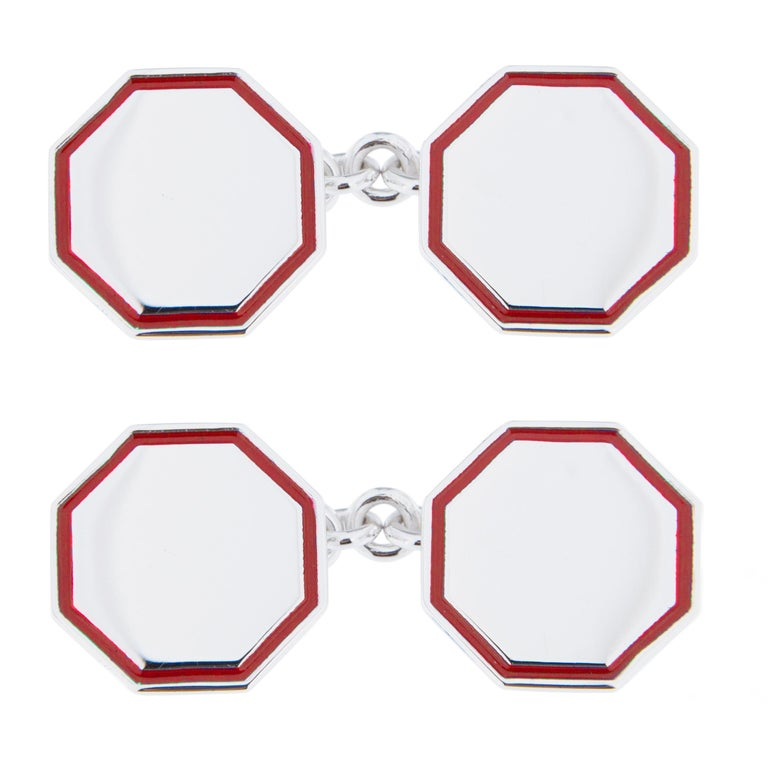 Jona Red Enamel Sterling Silver Cufflinks For Sale