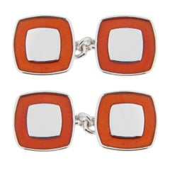 Jona Red Enamel Sterling Silver Cufflinks