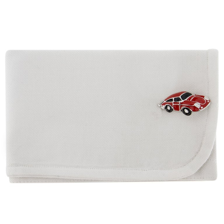 Jona design collection, hand crafted in Italy, Rhodium plated sterling silver Porsche Cufflinks with red enamel. Dimension: L 1.10 in x W 0.55 in - L 28 mm x W 14.20 mm All Jona jewelry is new and has never been previously owned or worn. Each item
