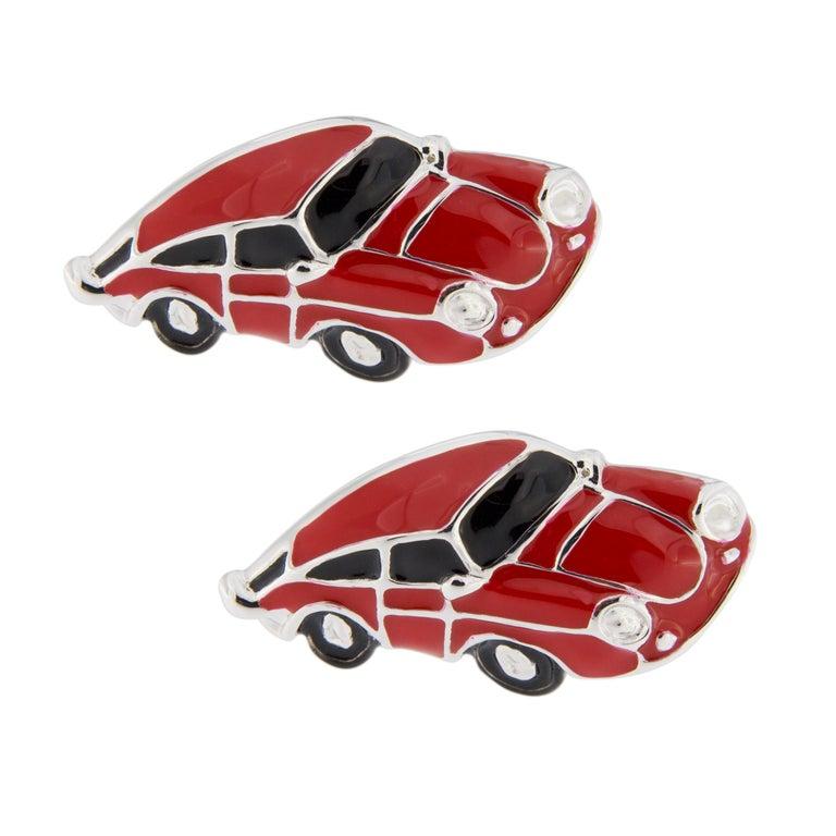 Jona Red Enamel Sterling Silver Porsche Cufflinks In New Condition For Sale In Torino, IT