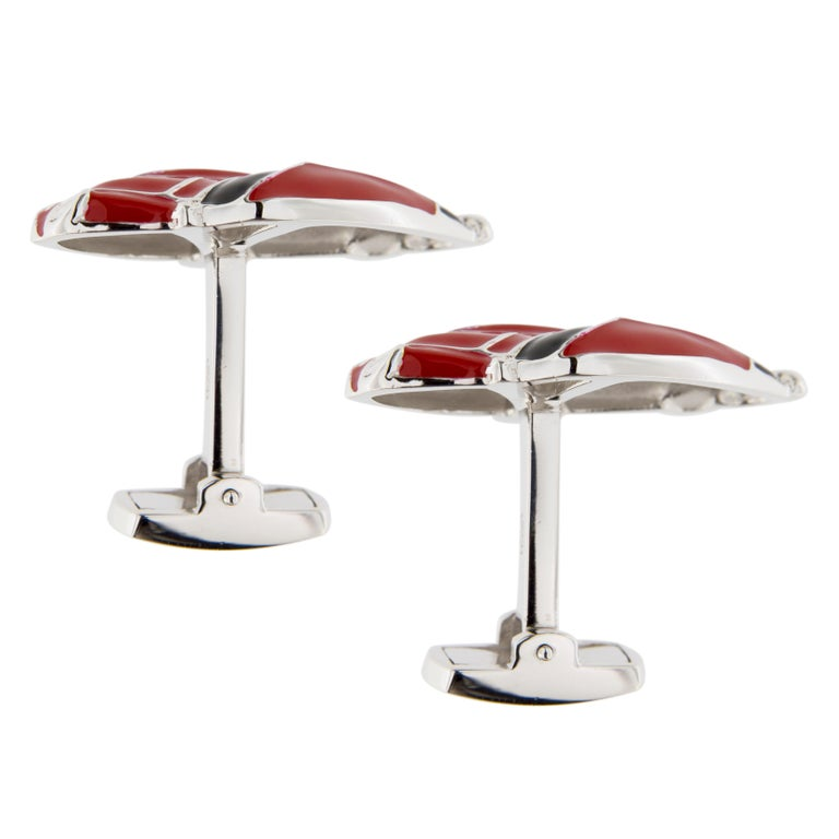 Women's Jona Red Enamel Sterling Silver Porsche Cufflinks For Sale