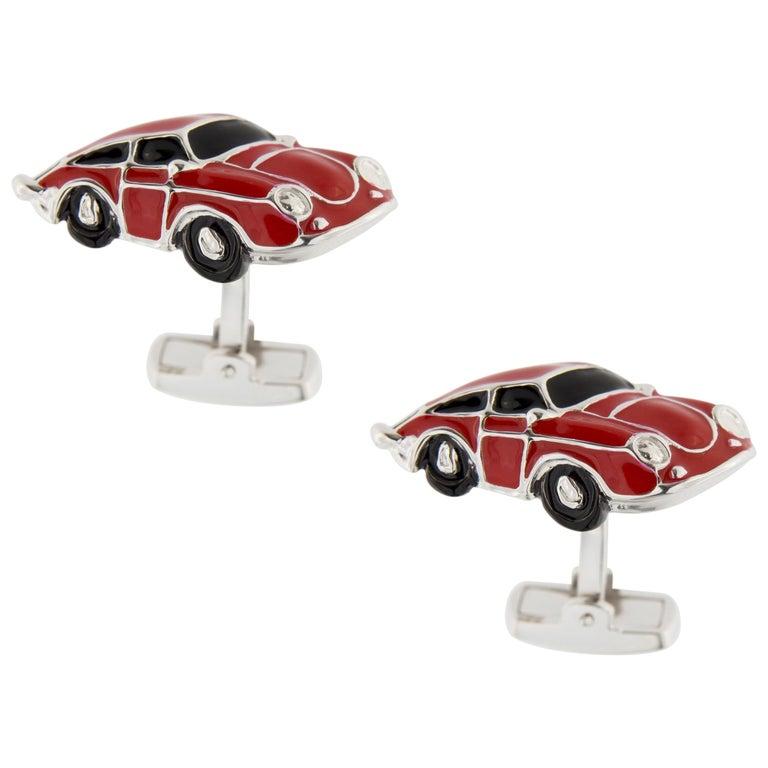 Jona Red Enamel Sterling Silver Porsche Cufflinks For Sale
