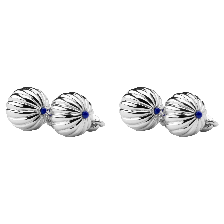 Jona Rhodium-Plated Sterling Silver Lapis Cufflinks