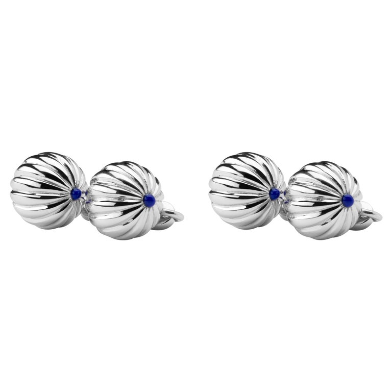 Jona Rhodium-Plated Sterling Silver Lapis Cufflinks For Sale