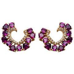 Alex Jona Rhodolite White Diamond 18 Karat Gold Open Heart Stud Earrings