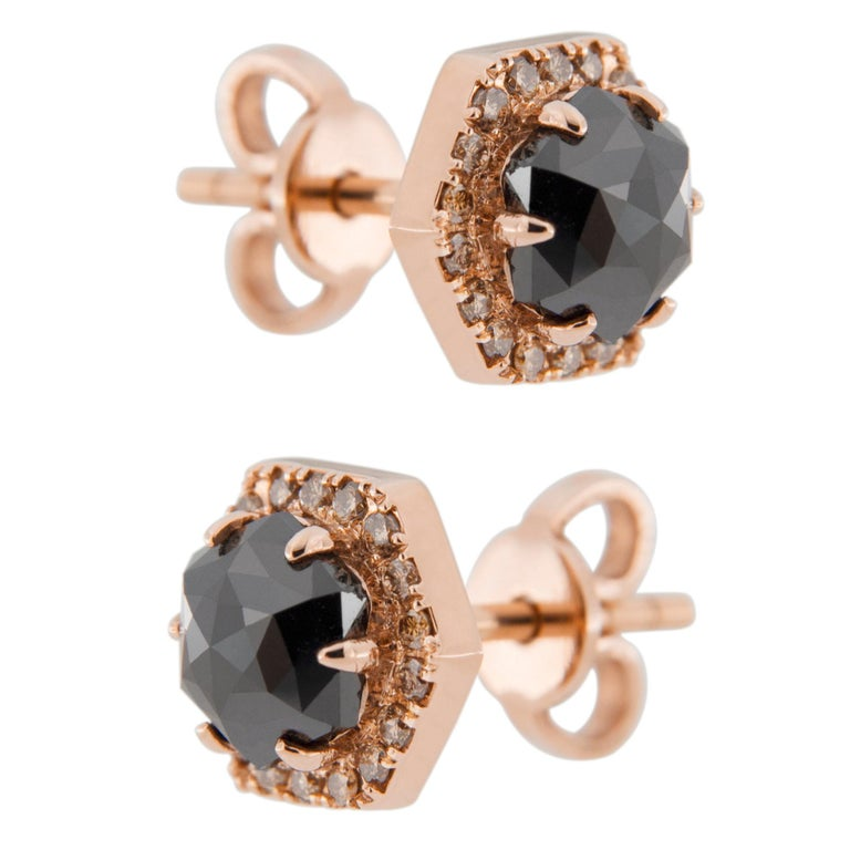 Women's or Men's Jona Rose Cut Black Diamond Brown Diamond 18 Karat Rose Gold Stud Earrings For Sale