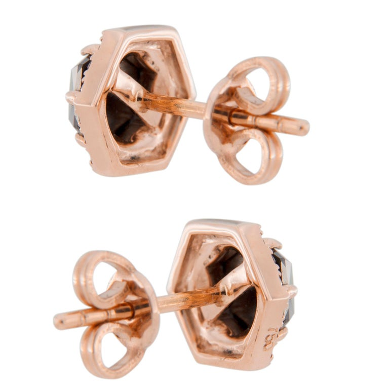 Jona Rose Cut Black Diamond Brown Diamond 18 Karat Rose Gold Stud Earrings For Sale 1
