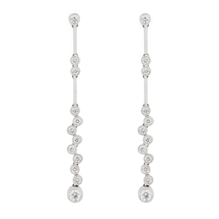 Jona White Diamond 18k White Gold Bubble Drop Earrings