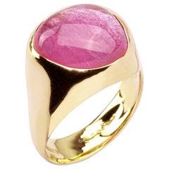 Alex Jona Rubelite Tourmaline 18 Karat Rose Gold Band Ring