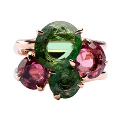 Jona Rubelite Tourmaline Green Tourmaline 18 Karat Rose Gold Band Ring