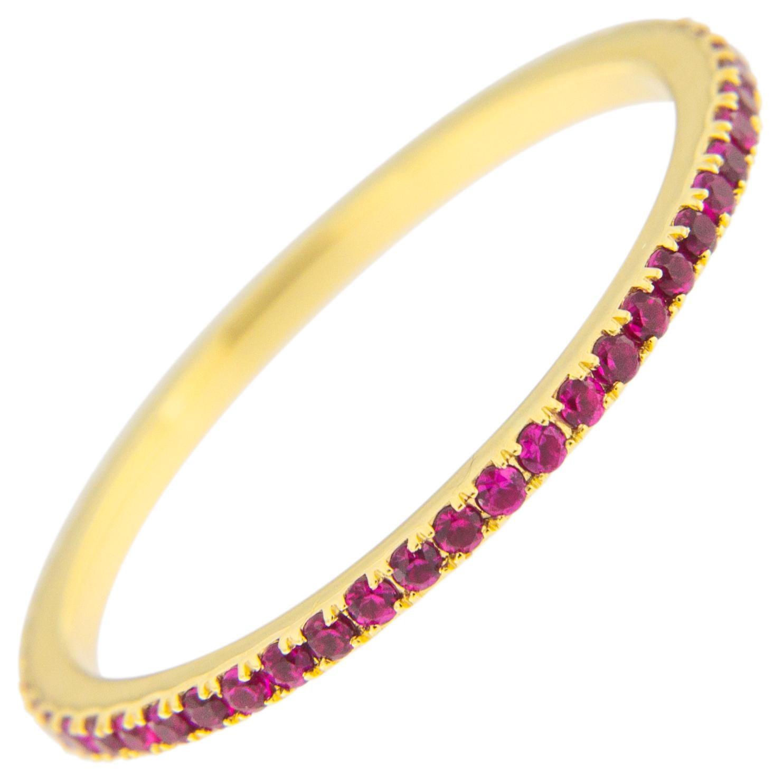 Jona Ruby 18 Karat Yellow Gold Eternity Band Ring