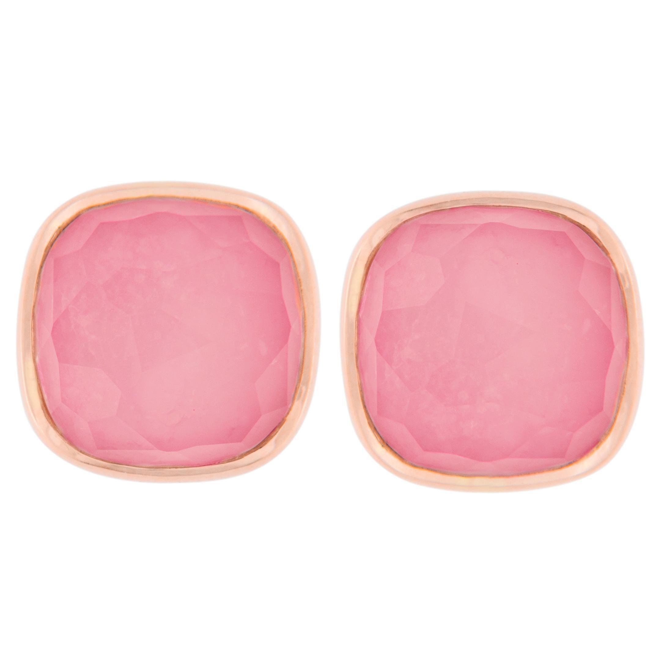 Jona Ruby Quartz 18 Karat Rose Gold Stud Earrings