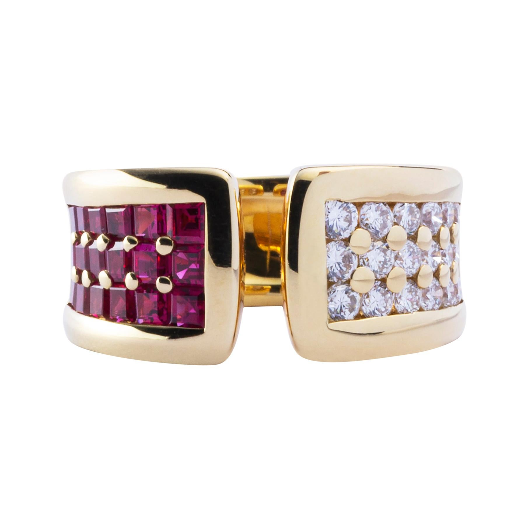 Jona Ruby White Diamond 18 Karat Yellow Gold Band Ring